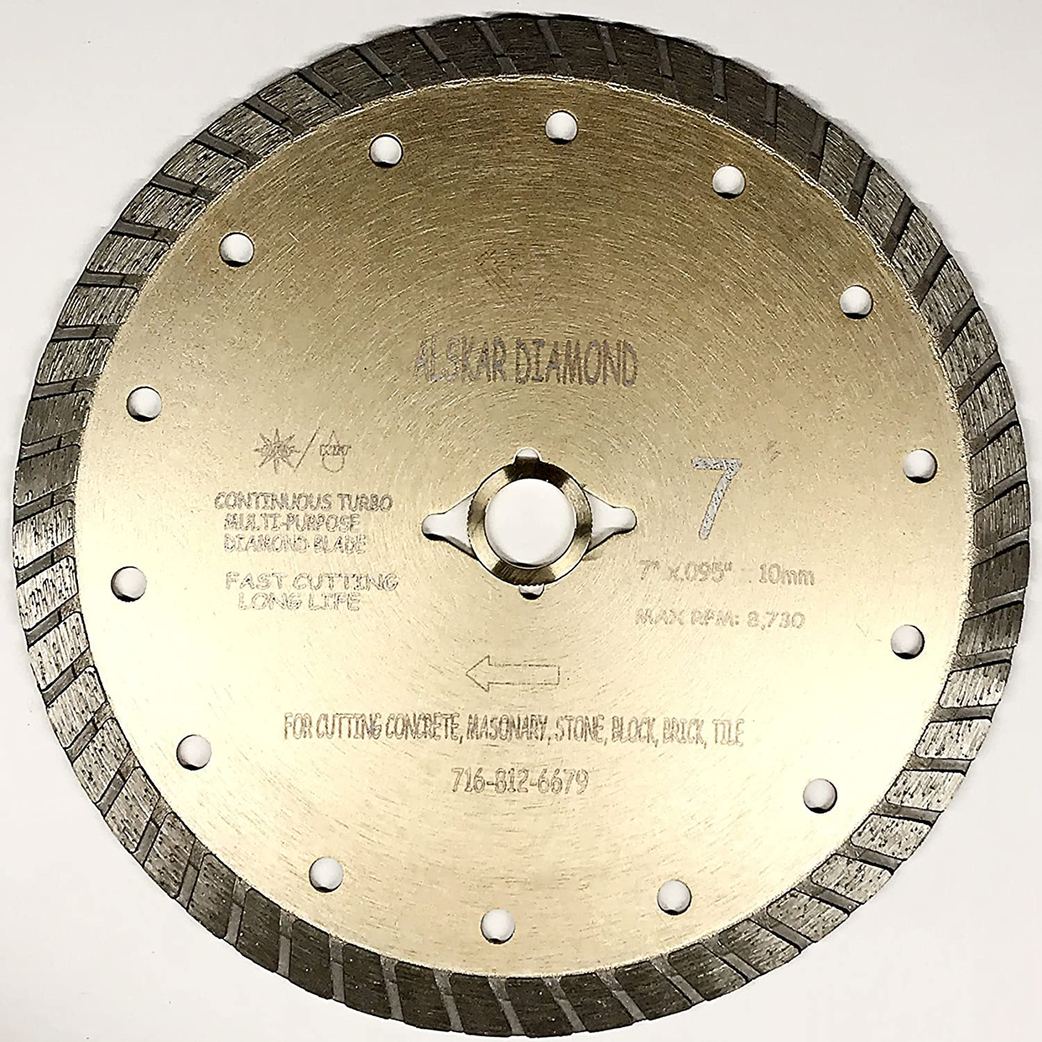 "ALSKAR DIAMOND ADLSC 7 inch Dry or Wet Cutting General Purpose Continuous Turbo Power Saw Diamond Blades for Concrete Masonry Brick Stone (7"")"