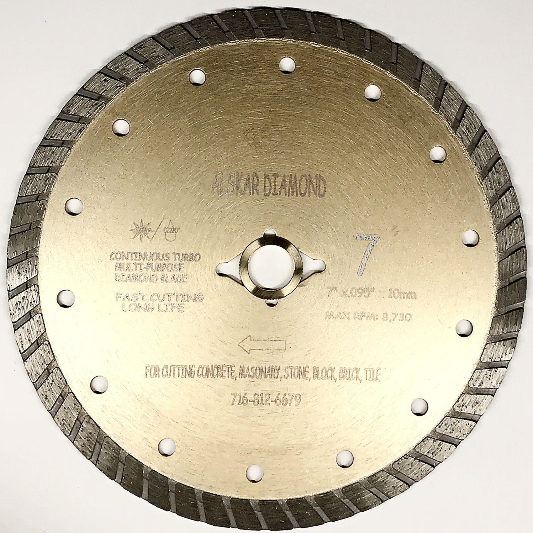 ALSKAR DIAMOND ADLSC 7 inch Dry or Wet Cutting General Purpose Continuous Turbo Power Saw Diamond Blades for Concrete Masonry Brick Stone (7'')