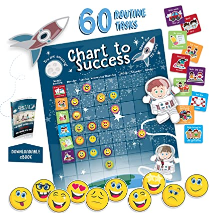 Chart to Success| Magnetic Dry Erase| Daily Routine Responsibility Chore  Chart for Kids| 80 Emojis| 60 Tasks, Including Behavior and Self-Care| Fun