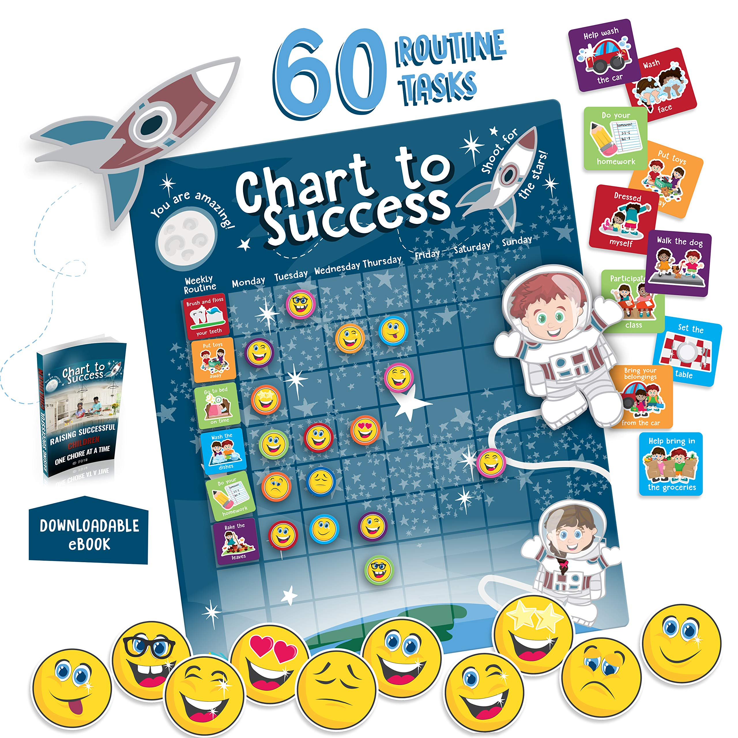 Chart to Success  Magnetic Dry Erase  Daily Routine Responsibility Chore Chart for Kids  80 Emojis  60 Tasks, Including Behavior and Self-Care  Fun Design for Both Boys and Girls  Raising a Star