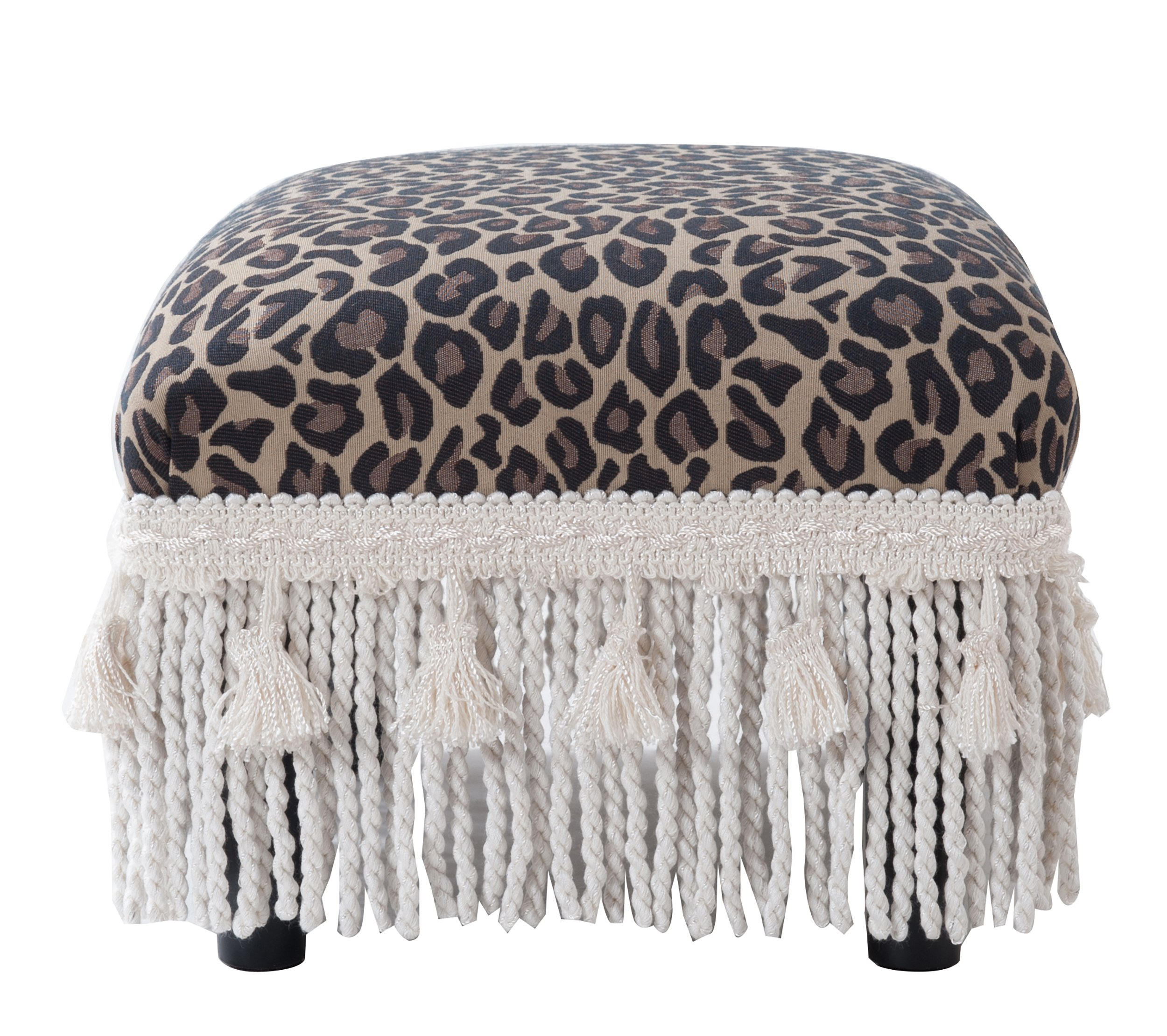Jennifer Taylor Home 2318-655 Decorative Fiona Collection Traditional Upholstered Rayon Blend Footstool with Fringe and Trim Tassels, Multi-Colored, Brown/Beige by Jennifer Taylor Home (Image #4)