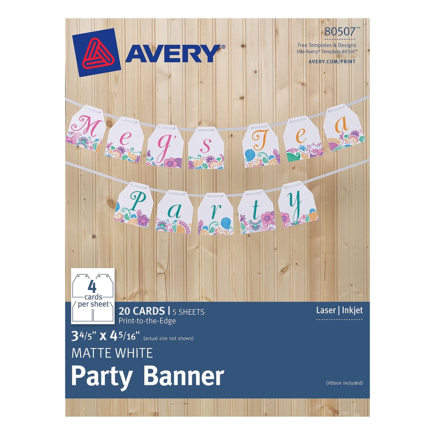 Amazon Avery Matte White Party Banner 80507 38 X 431 Inches