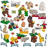 Smart Builder Toys 60 Piece  Animal Set Wild Farm Ocean Desert & Accessories (Duplo Compatible)