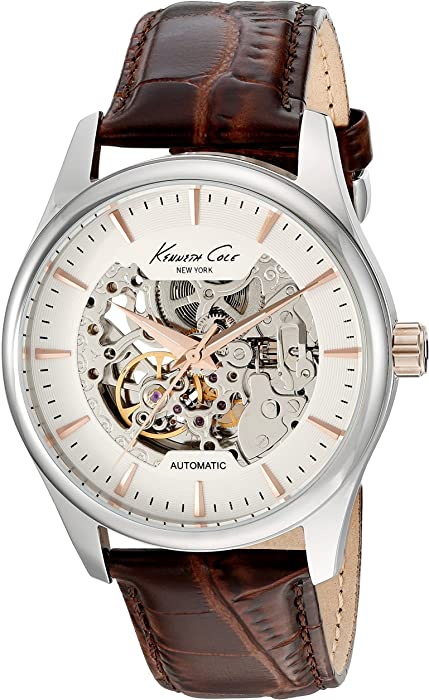 d70846d9e98 Kenneth Cole New York Men s  Automatic  Automatic Stainless Steel and Brown  Leather Dress Watch