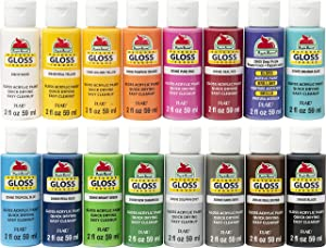 Apple Barrel Gloss Paint Set, 16 Piece (2-Ounce), PROMOABG Best Selling Colors
