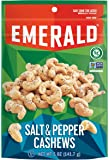 Emerald Nuts, Salt and Pepper Cashews, Stand Up Resealable Bag, 5 Ounce