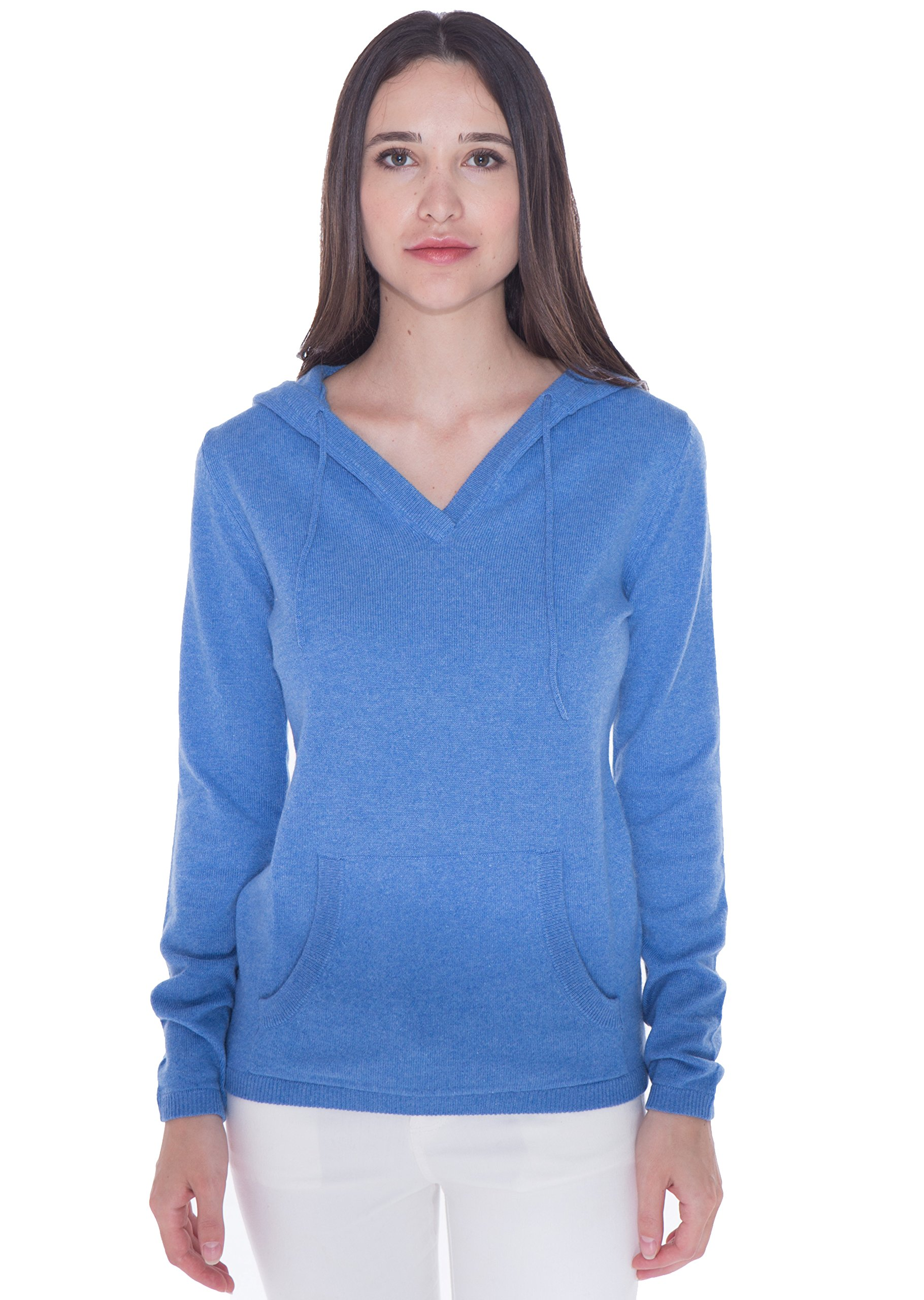 cashmere 4 U Women's 100% Cashmere V Neck Hoodie Sweater Pullover by (X-Large, Azure)