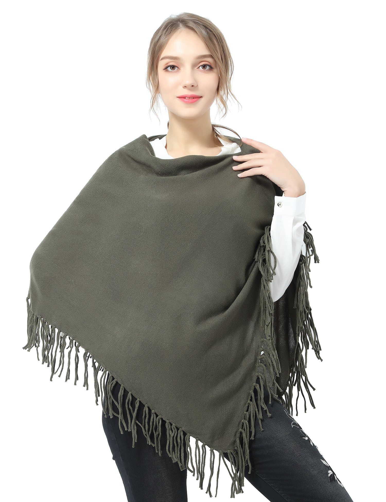 Joulli Women's Knitted Asymmetric Poncho Wrap Shawl Green, One Size