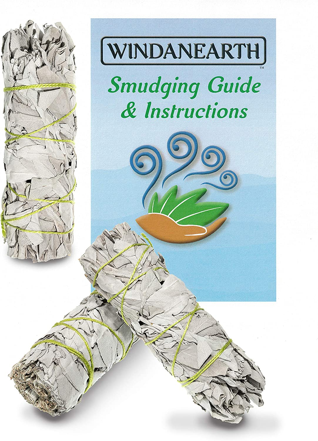 "Windanearth White Sage Smudge Sticks - 3 Pack 4"" Inch California White Sage Incense Sticks for Cleansing. Sage Smudge Kit Replenishment. Sage Bundles Grown and Packaged in The USA."