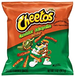 Cheetos Crunchy Cheddar Jalapeno Flavored Cheese Snacks, 1 Ounce (Pack of 40)
