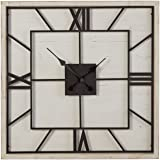 Amazon Brand – Stone & Beam Large Battery Operated Square Art Deco Wood Wall Clock - 27 Inch, White