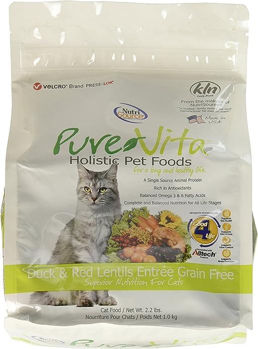 Purevita Grain Free Duck Red Lentils Entree Nutritious Cat Dinner Food 2.2Lbs