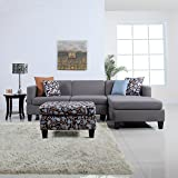 3-Piece Modern Grey Sectional Sofa with Ottoman and Floral Print Pillows, Microfiber Fabric L-Shape Couch