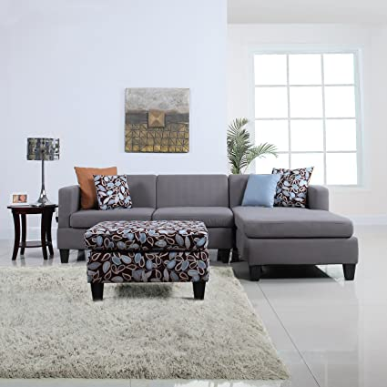 3 Piece Modern Grey Sectional Sofa With Ottoman And Floral Print Pillows,  Microfiber Fabric