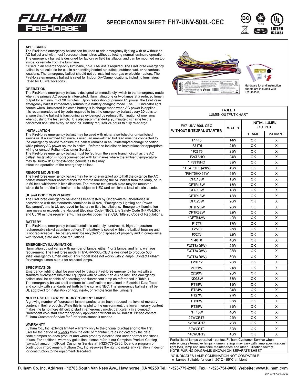 Fulham Lighting Fh7 Unv 500l Cec Firehorse 7 Emergency Ballast Wiring Diagram Universal Voltage 500 Initial Lumen Output