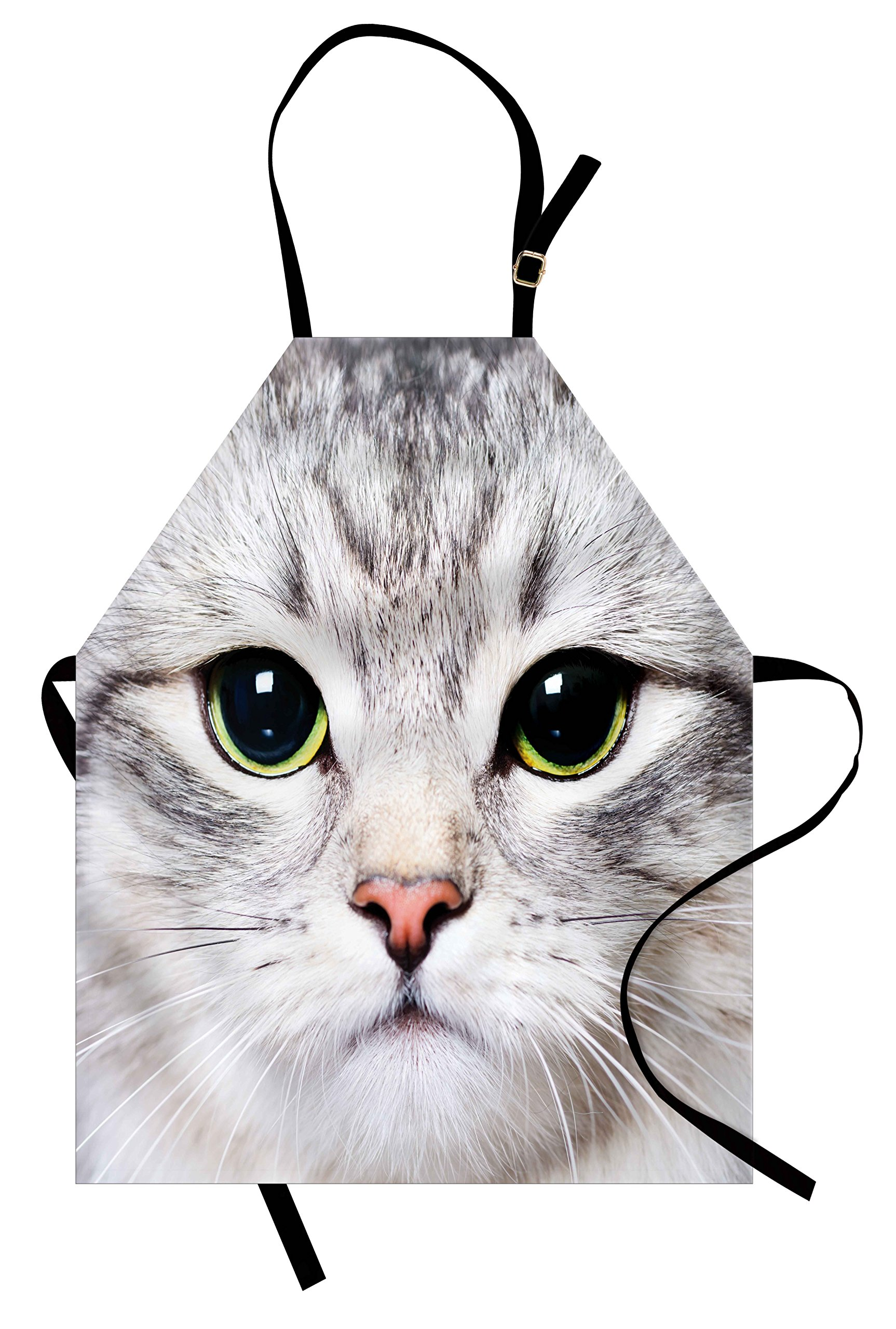 Ambesonne Cat Apron, Close up Portrait of a Baby Kitten for Pet Lovers Domestic Feline Animal Kitty Face, Unisex Kitchen Bib Apron with Adjustable Neck for Cooking Baking Gardening, Multicolor
