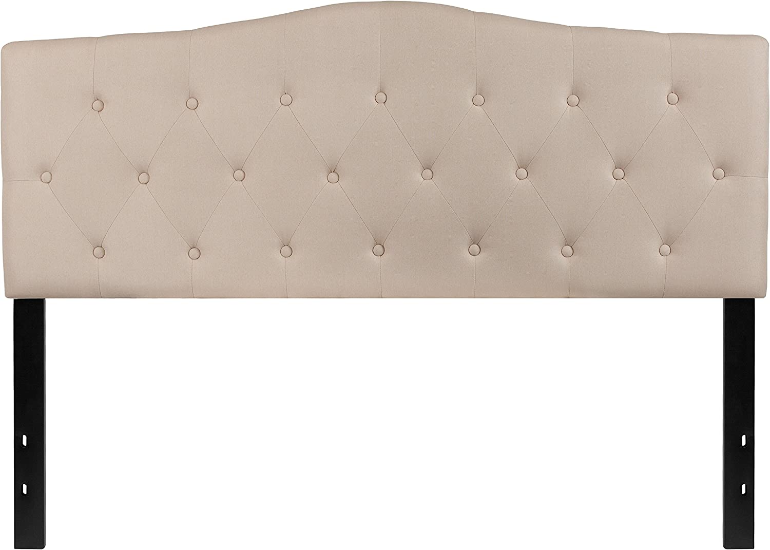 Flash Furniture Cambridge Tufted Upholstered Queen Size Headboard in Beige Fabric