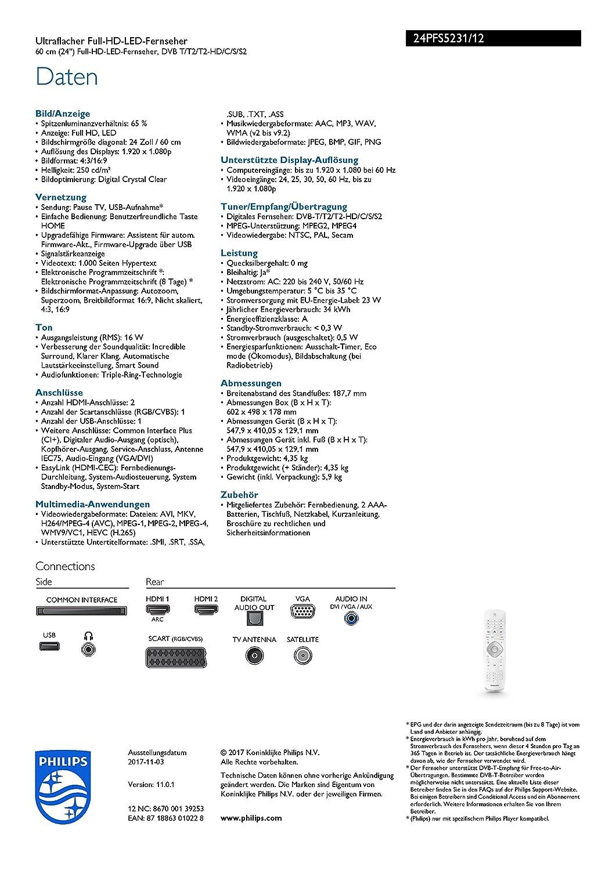 f94d14d55 Philips 24PFS5231 60 cm (24 Zoll) Fernseher (Full HD, Triple Tuner ...