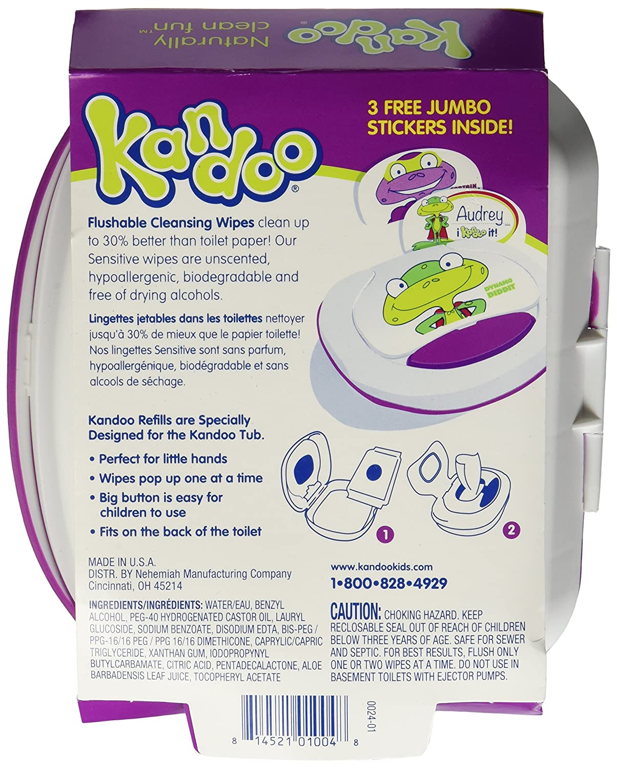 Kandoo Flushable Sensitive Toddler Wipes Tub 50Ct. by Nehemiah: Amazon.es: Salud y cuidado personal