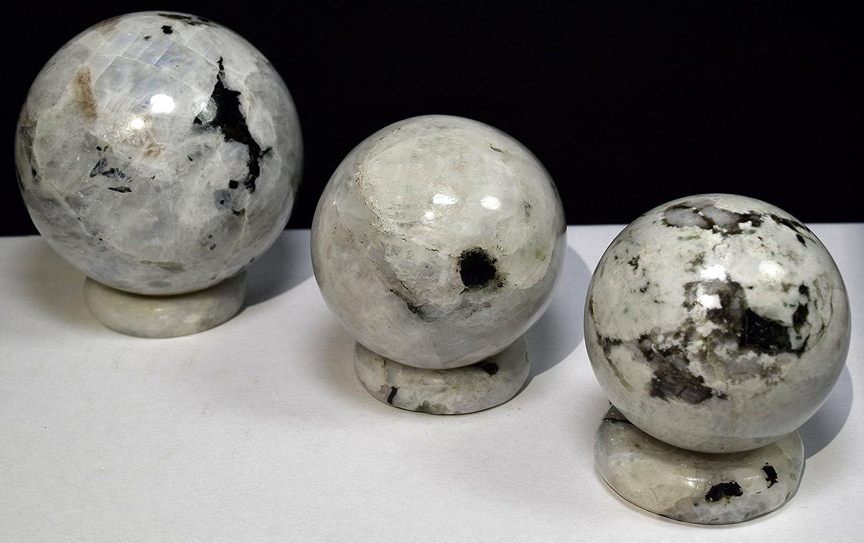 38mm Rainbow Moonstone Stand Natural Sparkling Feldspar Crystal Stone India