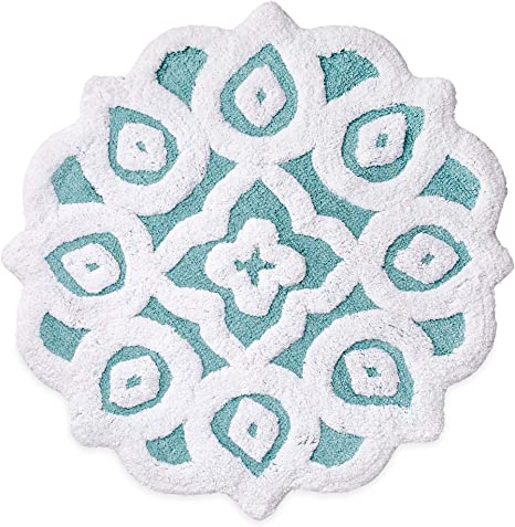 Amazon Com Peri Home Capri Medallion 100 Cotton Bath Rug 20 X 30 Inches Blue Home Kitchen