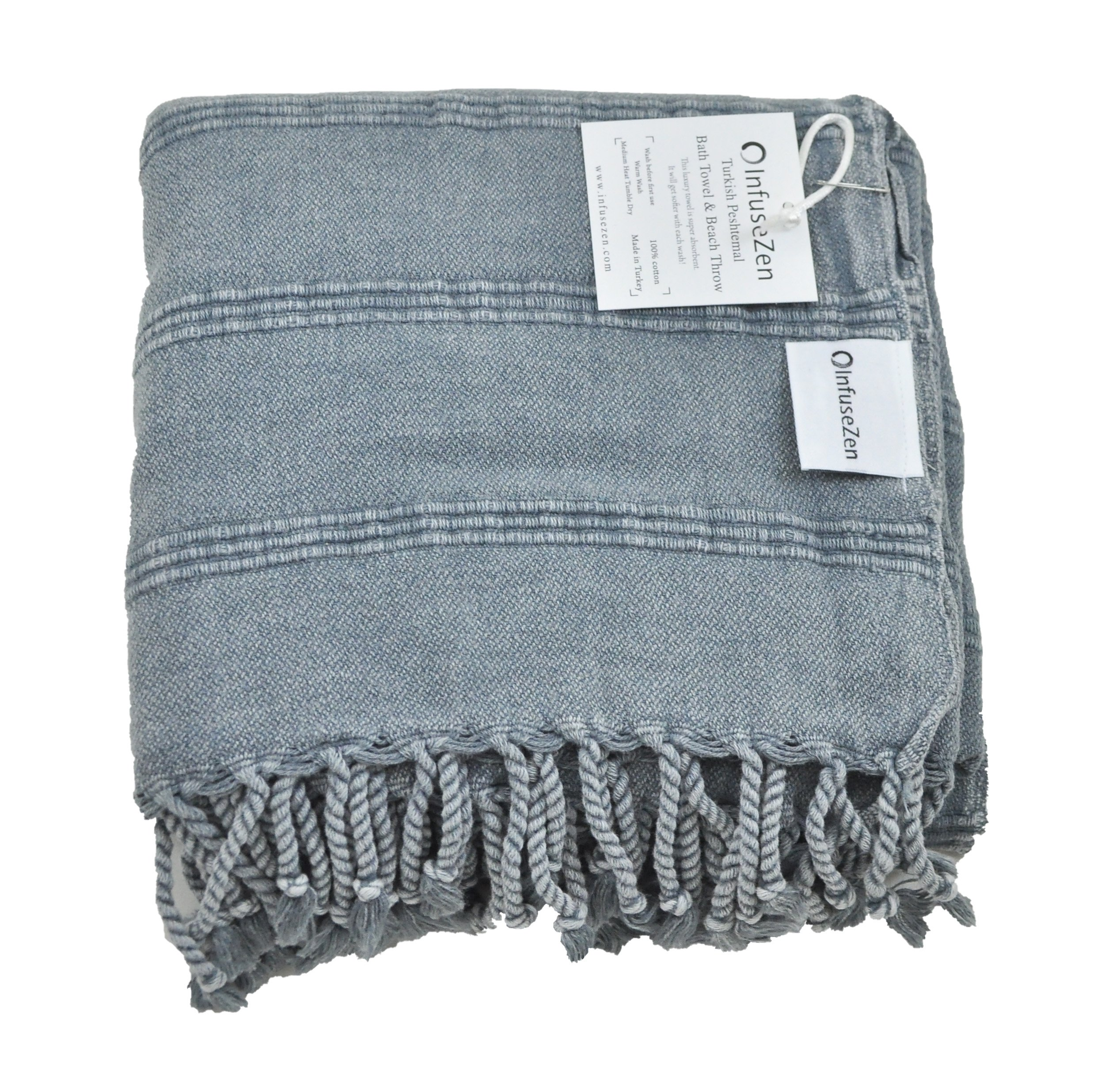 InfuseZen Stonewashed Turkish Towel, Unique Thin & Absorbent Bath Towel, Beach Towel and Pool Towel, Large Cotton Stone Washed Peshtemal Towels Weaved in Turkey, Hammam Spa Towels (Denim)