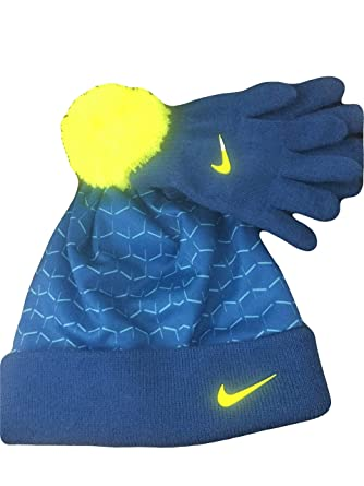 e1f62b2b92b Amazon.com  NIKE Youth Blue Winter Hat   Gloves Beanie Set 4-7 ...