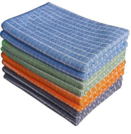 Gryeer - Paños de cocina de bambú y microfibra (2 grises, 2 azules,