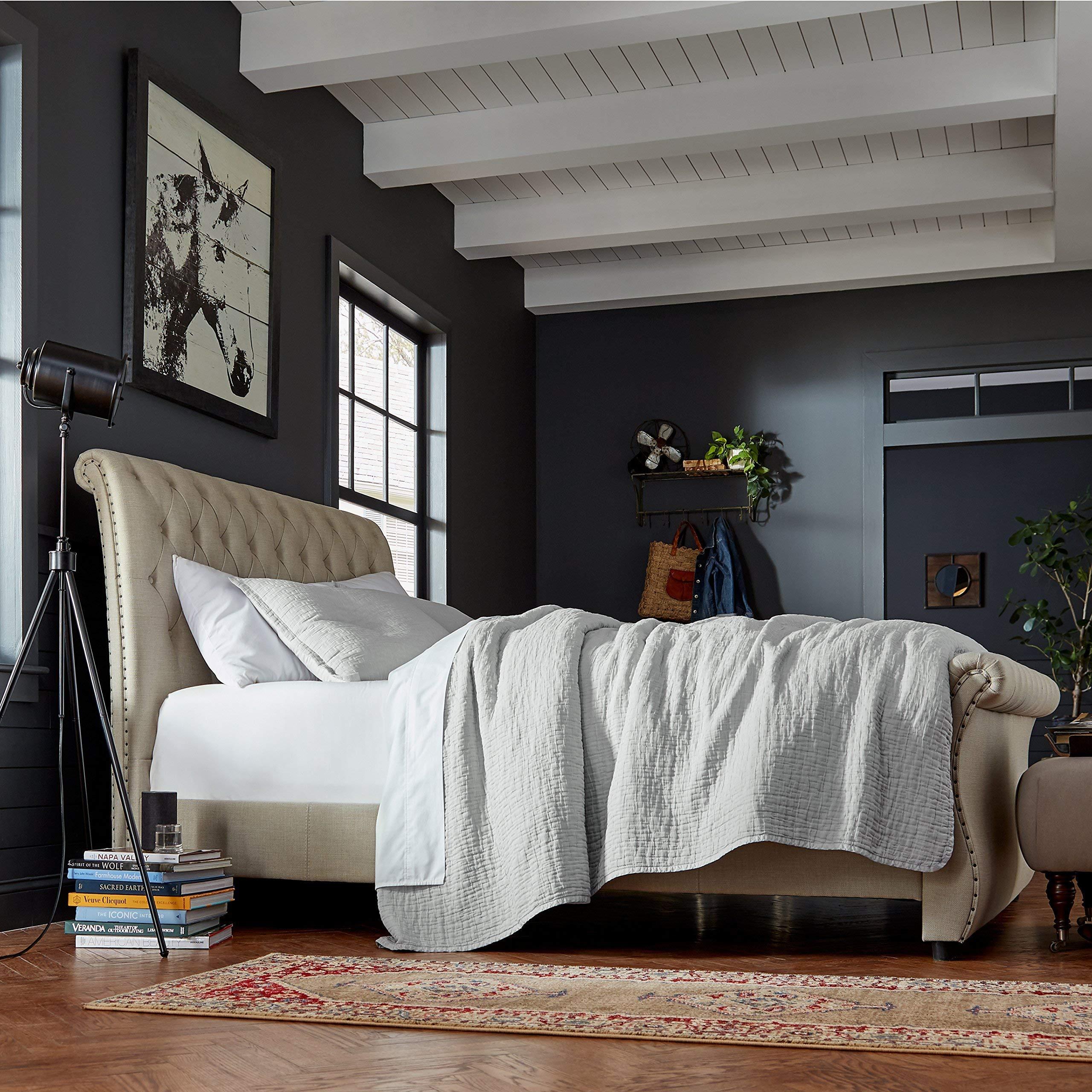 Stone & Beam Locklar 100% Cotton Lightweight Textured King Coverlet Set, Easy Care, 104'' x 90'', Grey