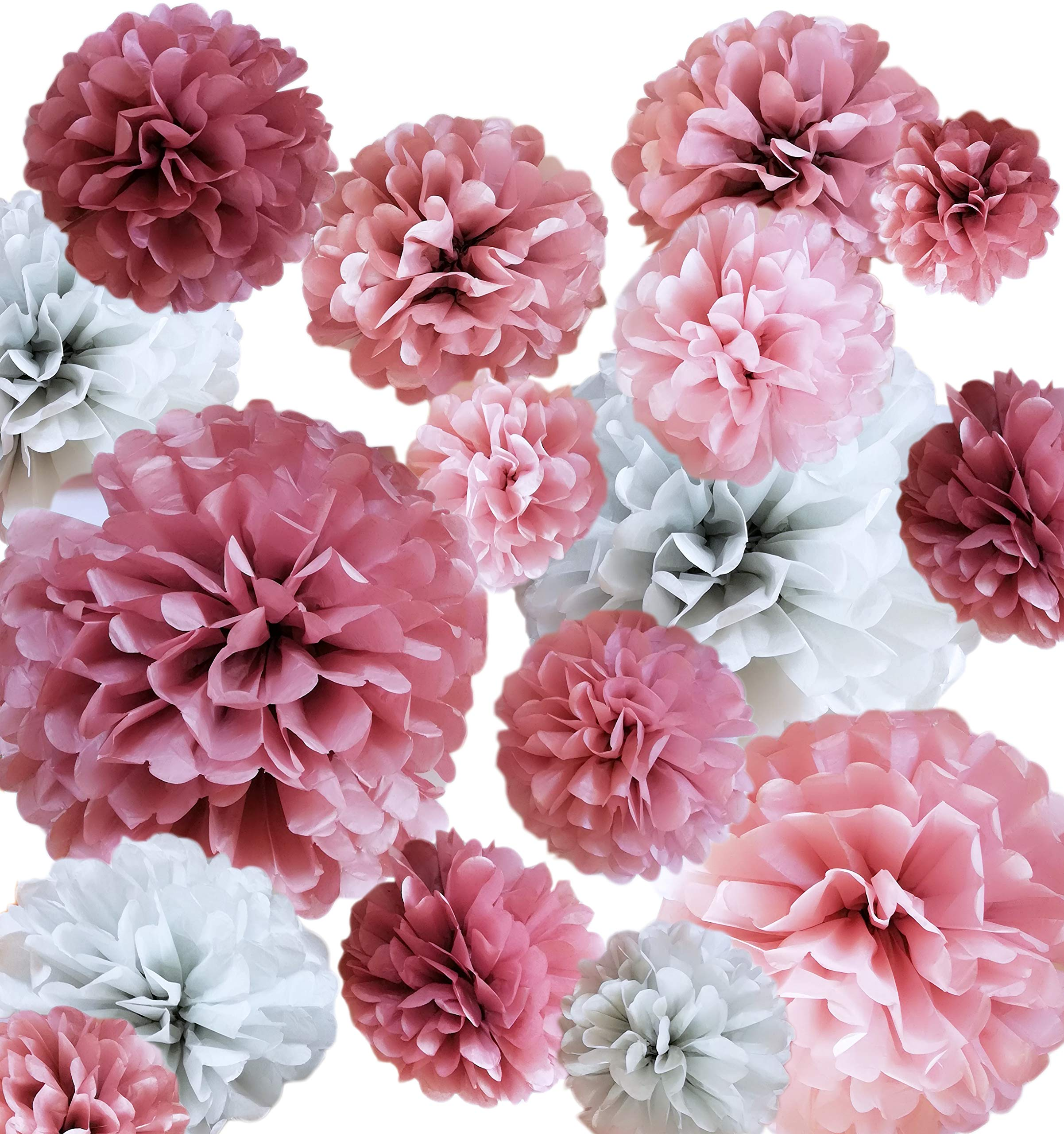 VINANT 20 PCS - Dusty Rose Party Decoration - Tissue Paper Pom Poms - Birthday Party - Baby Shower - Bridal Shower - Wedding - Bachelorette - Dusty Rose, Mauve, Blush Pink, Grey - 14'', 10'', 8'', 6'' by VINANT