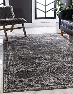 Unique Loom Bromley Collection Vintage Traditional Medallion Border Dark Gray Area Rug (8' 0 x 10' 0)