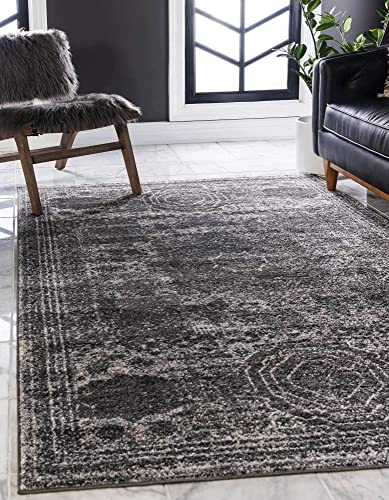 Unique Loom Bromley Collection Vintage Traditional Medallion Border Dark Gray Area Rug 9' 0 x 12' 0