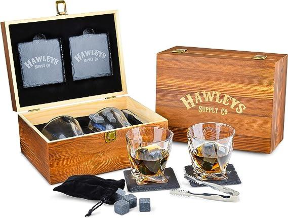 Premium Whiskey Stones Gift Set - 8 Granite Whiskey Rocks