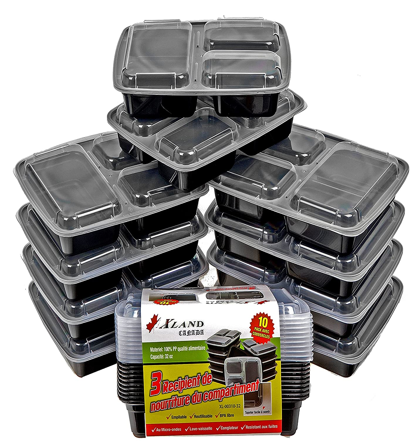3 Compartment Bento Boxes, Meal Prep Containers, Food Storage Trays with Lids, Reusable Food Storage Containers, Microwave and Dishwasher Safe, Bento Lunch Boxes, Stackable, Compartment sizes 8, 8, and 16 ounces, with its Storage Capacity of 32 ounces Per