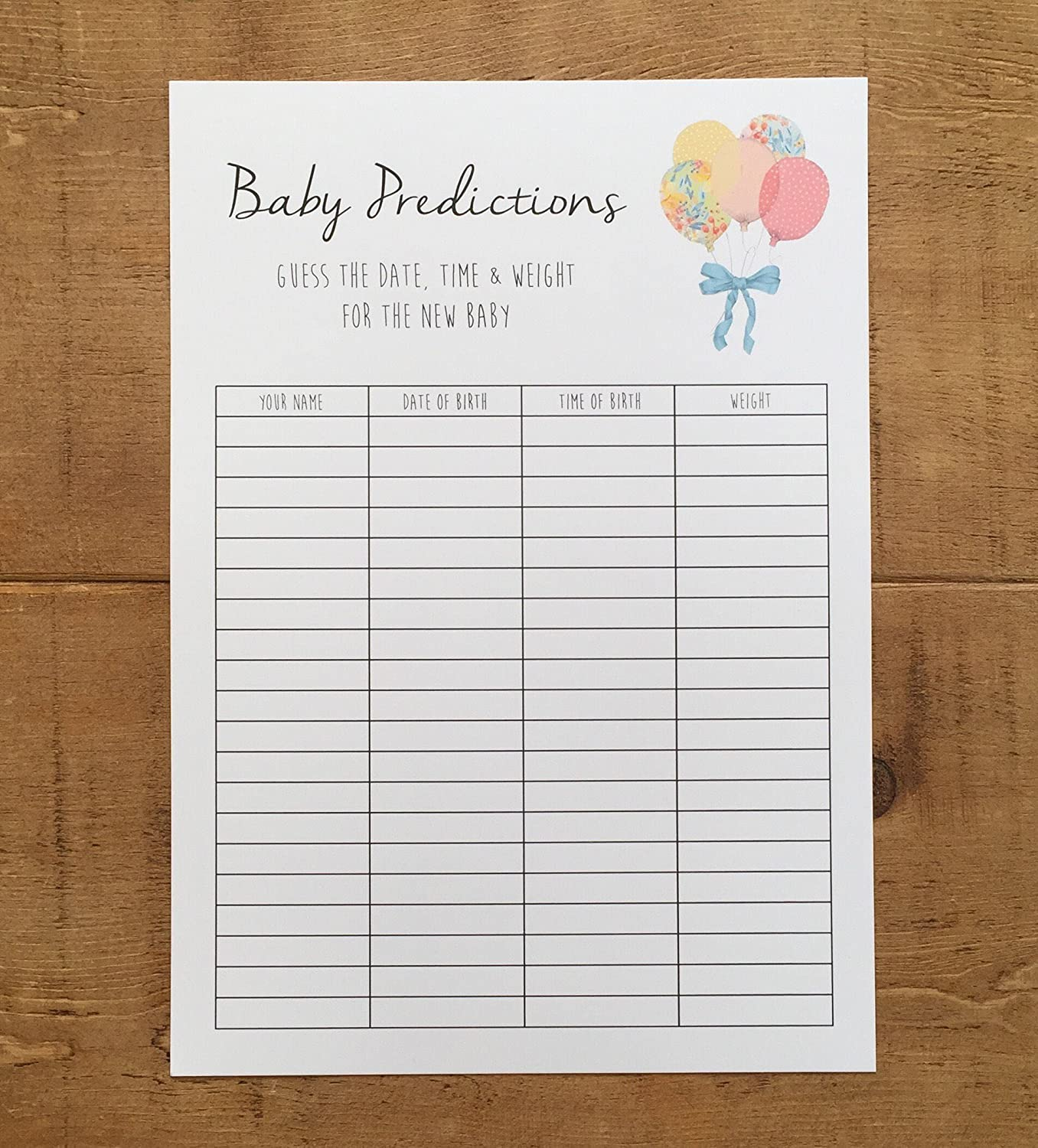BABY SHOWER GAME Guess the weight date & time Amazon