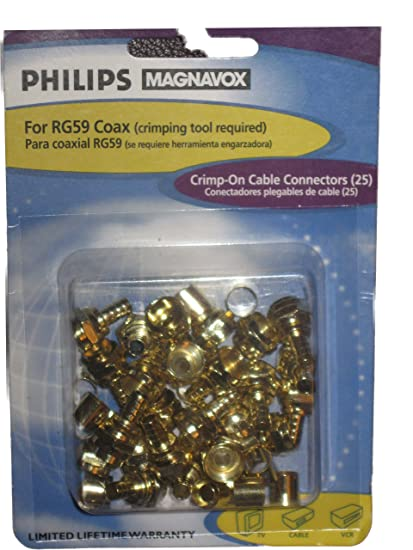 PHILIPS CRIMP-ON CABLE CONNECTORS (25) FOR RG59 COAX PM61132