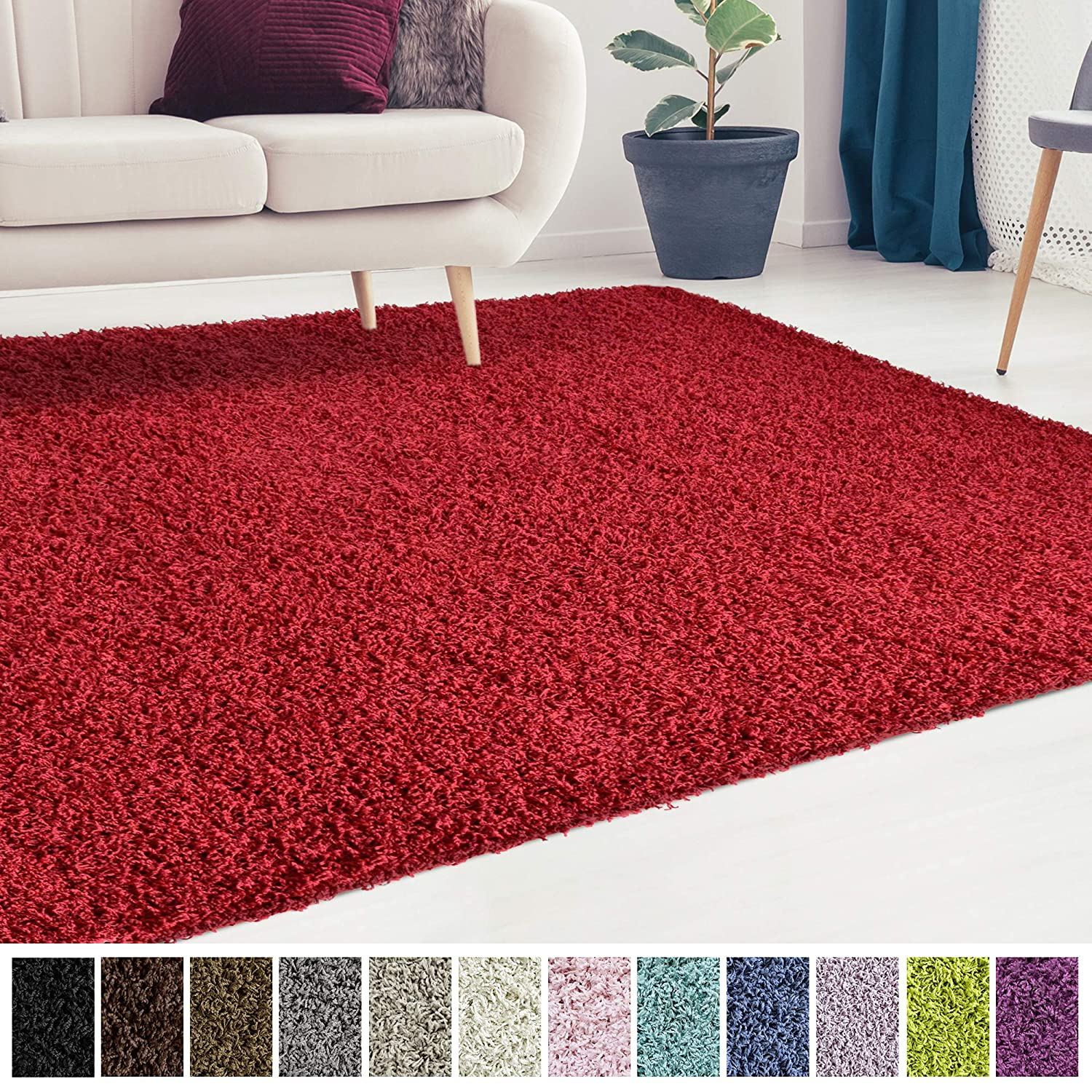 Icustomrug Cozy And Soft Solid Shag Rug 8x8 Red Square Area Rug Ideal To Enhance Your Living Room And Bedroom Decor