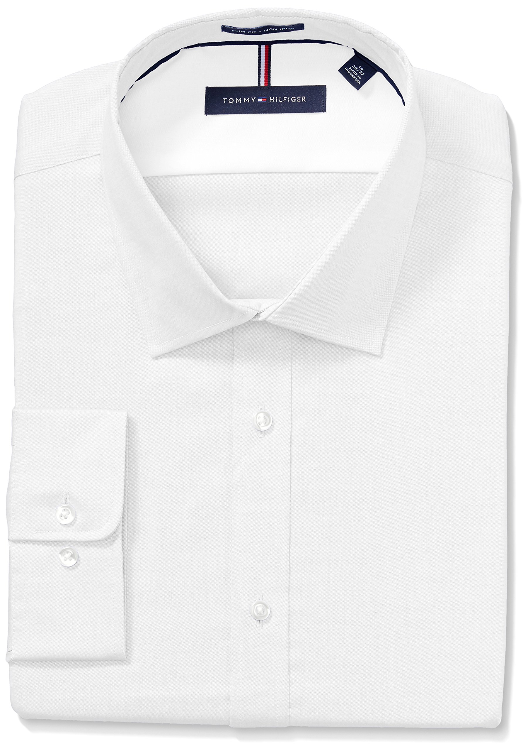 Tommy Hilfiger Men's Non Iron Slim Fit Solid Spread Collar Dress Shirt, White, 17.5'' Neck 36''-37'' Sleeve