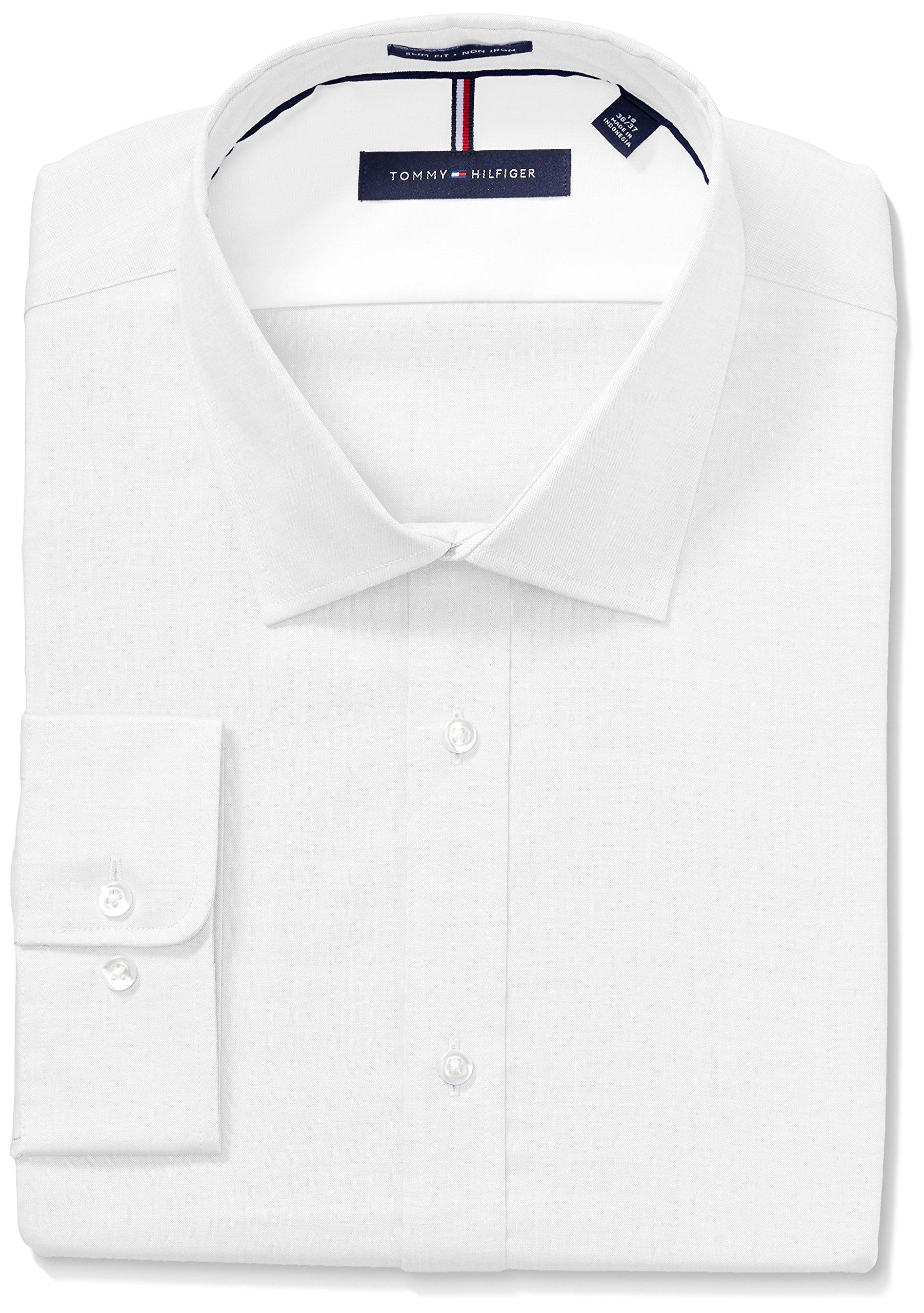 971af6af Galleon - Tommy Hilfiger Men's Non Iron Slim Fit Solid Spread Collar Dress  Shirt, White, 15