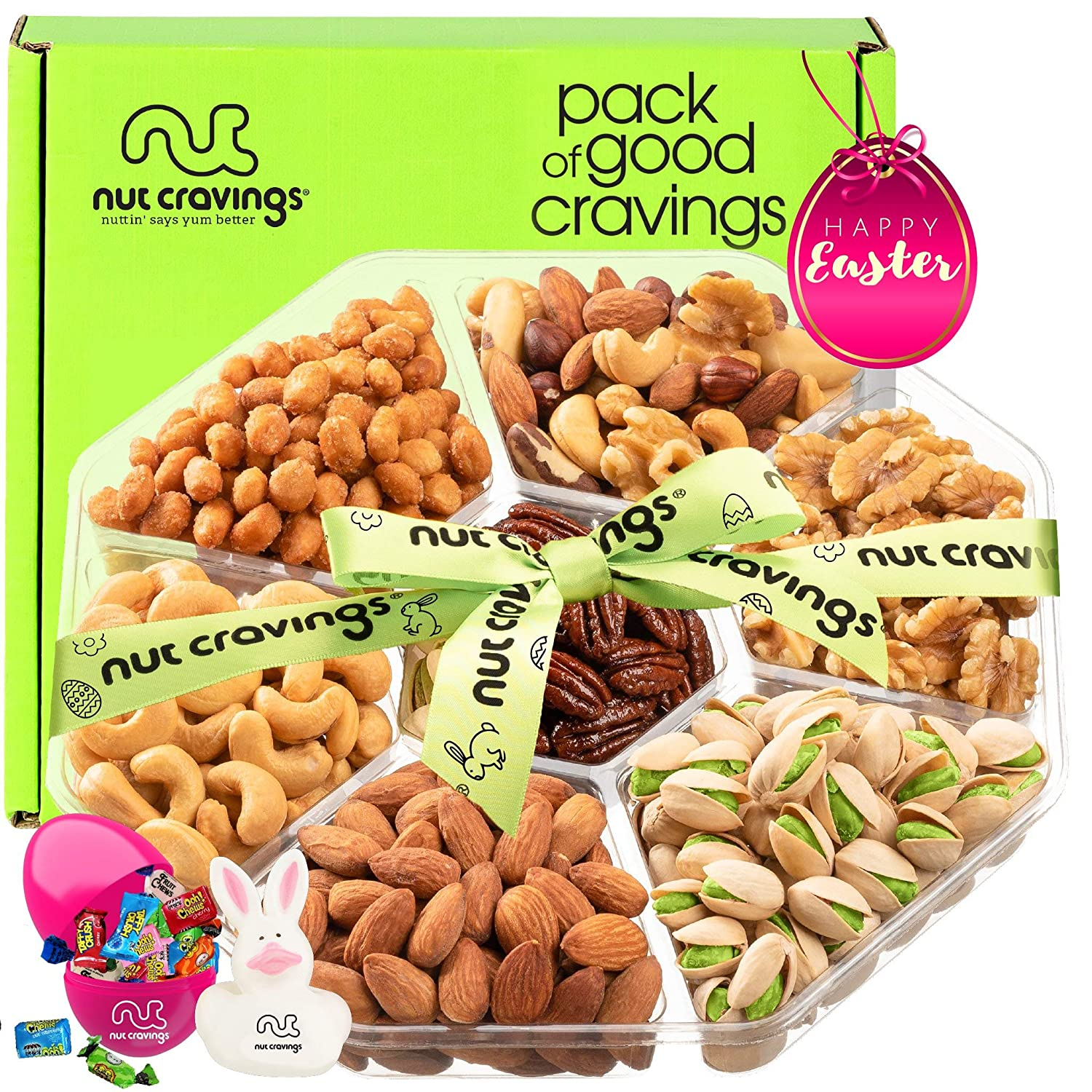 Premade Easter Gift Baskets for Adults & Kids, Candy Filled Eggs + Bunny - Gourmet Nut Platter (7 Mix Tray) - Healthy Food Arrangement, Care Package Variety, Prime Assortment, Kosher Snack Box