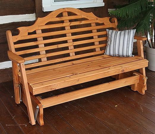 Aspen Tree Interiors Banco de madera para patio o al aire libre con soporte de jardín, para 2 personas, resistente a la intemperie, madera de cedro de color ...