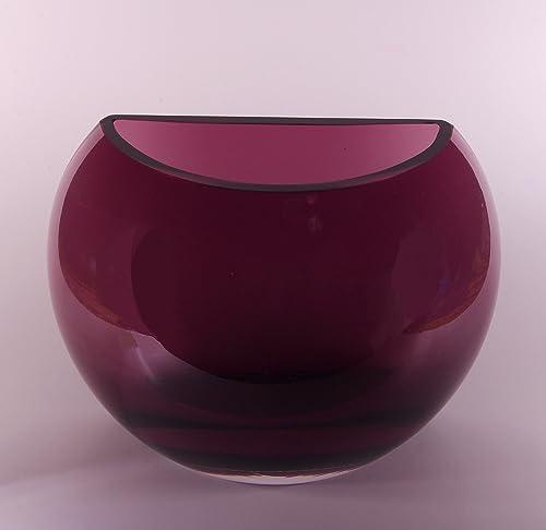 Barski – European Quality – Handmade Glass – Amethyst – Half Moon Vase – 6.2 High- 8.2 Long – Made in Europe