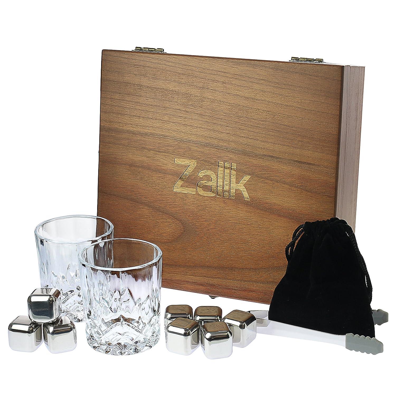 UPGRADED Zalik Whiskey Stones Gift Set – Set Of 8 Stainless Steel Beverage Chilling Rocks Ice Cubes Includes 2 Whiskey Glasses, Velvet Bag, Tongs With Elegant Wooden Gift Box - For Whiskey, Liqueurs.