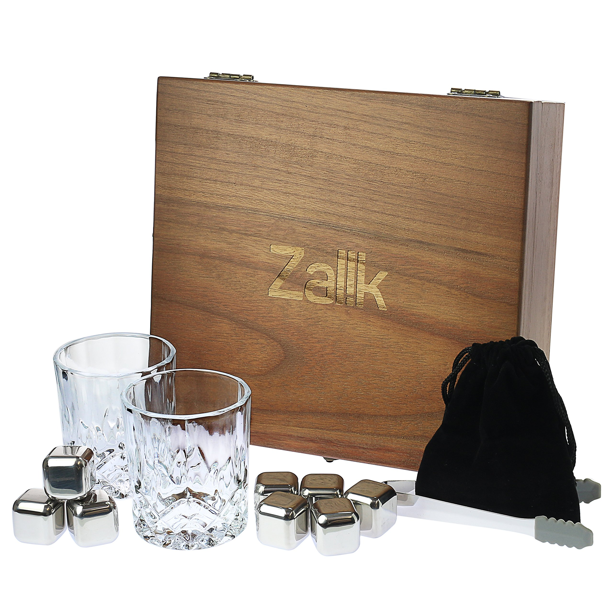 Zalik Whiskey Stones Gift Set – Set Of 8 Stainless Steel Beverage Chilling Rocks Ice Cubes Includes 2 Whiskey Glasses, Velvet Bag, Tongs With Elegant Wooden Gift Box - For Whiskey, Vodka, Liqueurs