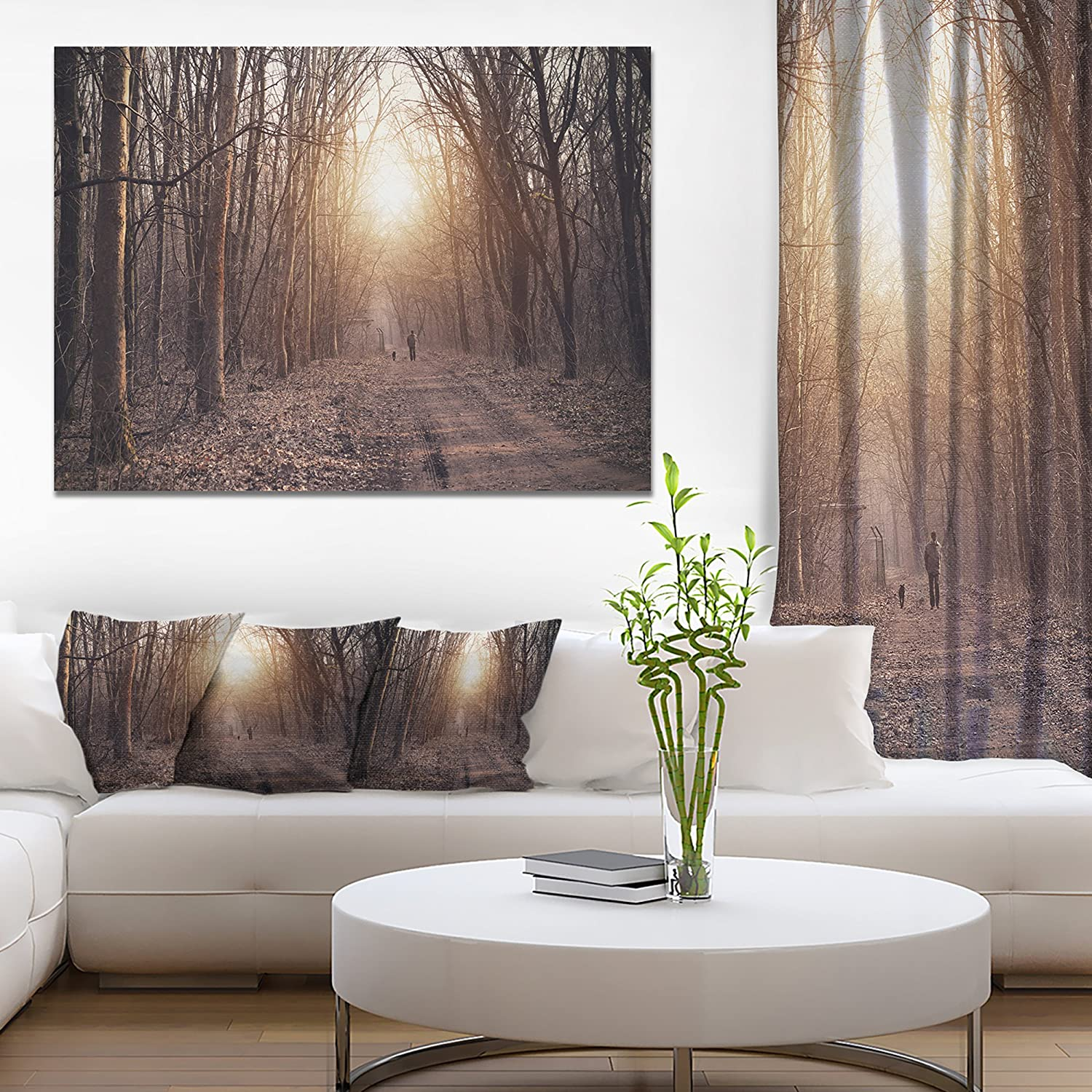 Amazon Com Forest Pathway View At Sunset Modern Forest Canvas Art Posters Prints