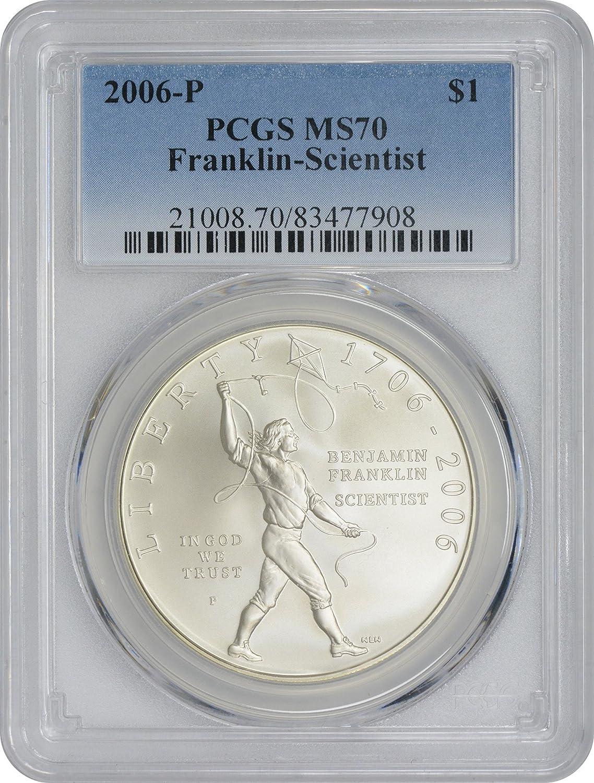 New PCGS Label 2006-P PCGS MS70 Franklin-Scientist Dollar