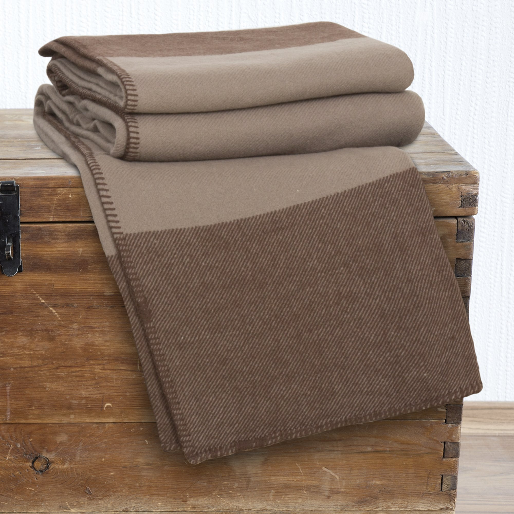Lavish Home 100% Australian Wool Blanket, Full/Queen, Brown