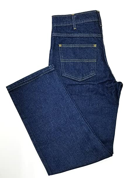 1940s Trousers, Mens Wide Leg Pants Prison Blues Heavy Duty Rinsed Basic Jean $39.99 AT vintagedancer.com