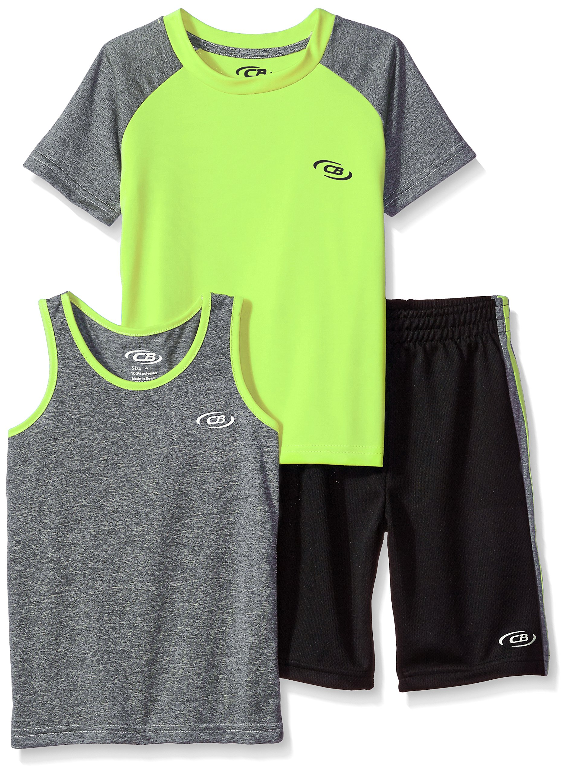 CB Sports Boys' Toddler 3 Piece Performance Tank, Tee, and Short Set, SH72_Lime, 2T