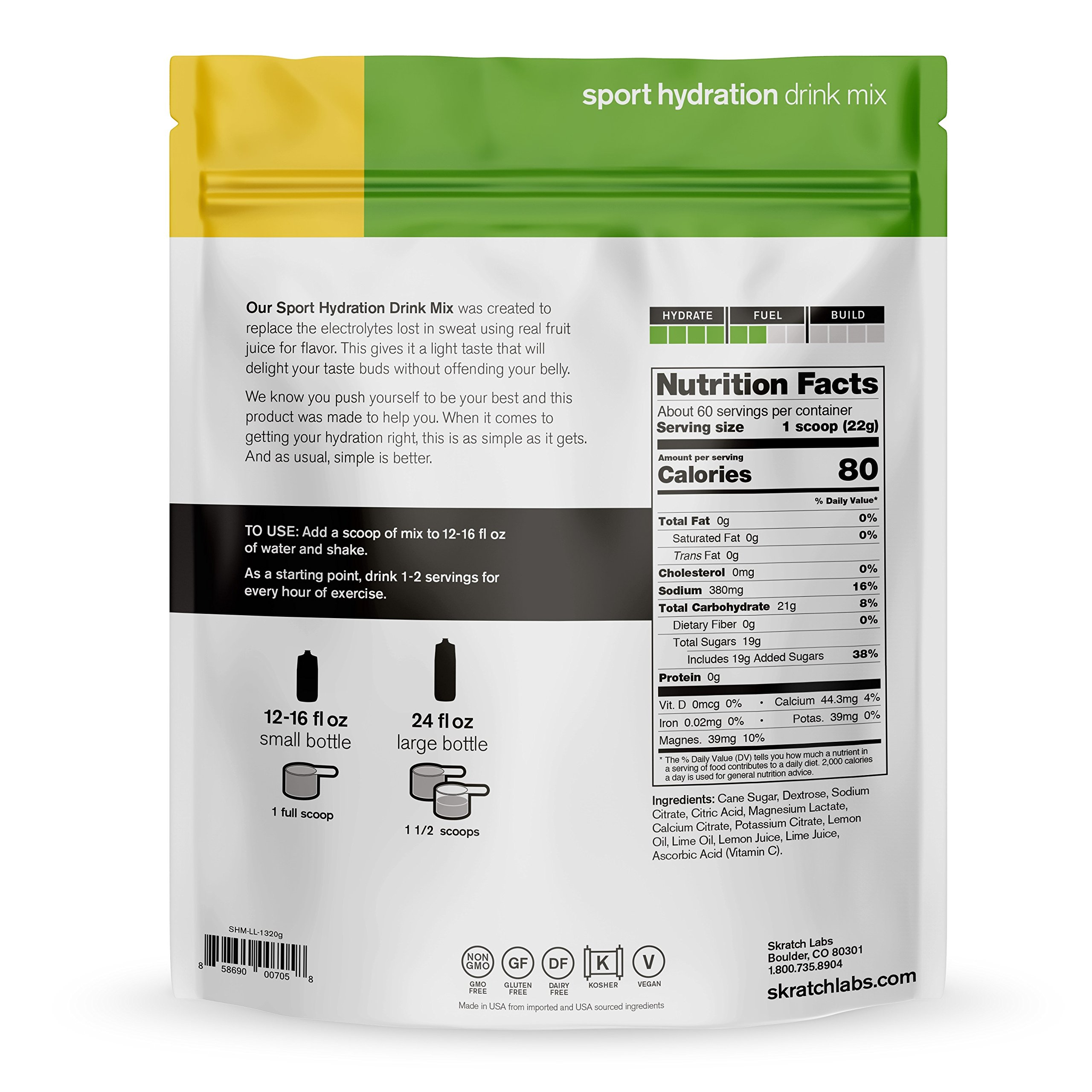 SKRATCH LABS Sport Hydration Drink Mix, Lemon Lime (46.5 oz, 60 servings) - Natural, Electrolyte Powder Developed for Athletes and Sports Performance, Gluten Free, Vegan, Kosher by Skratch Labs (Image #2)